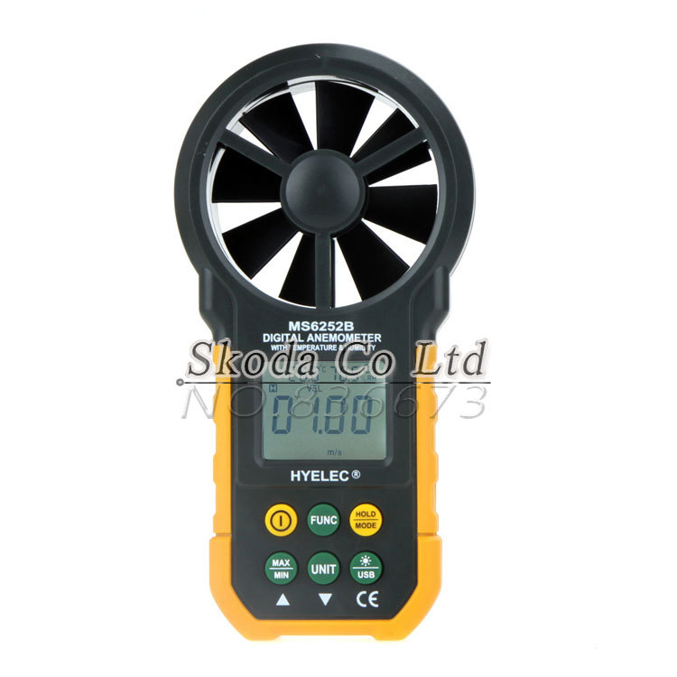 Free shipping HYELCE MS6252B Digital Anemometer Meter with Temperature humidity test USB Interface Air Wind Speed Velocity Meter digital indoor air quality carbon dioxide meter temperature rh humidity twa stel display 99 points made in taiwan co2 monitor