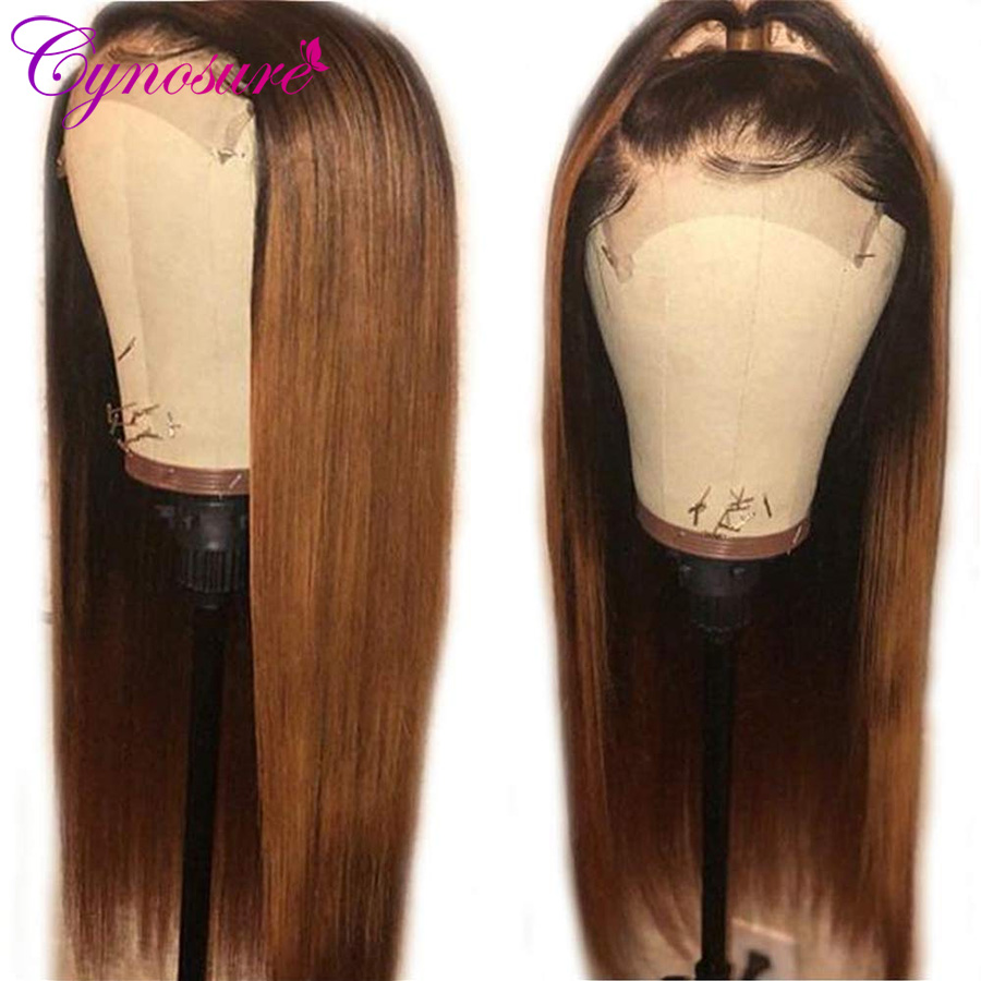 Cynosure 1b/30 Colored Lace Front Human Hair Wigs Pre Plucked With Baby Hair For Black Women Remy Straight Human Hair Wig