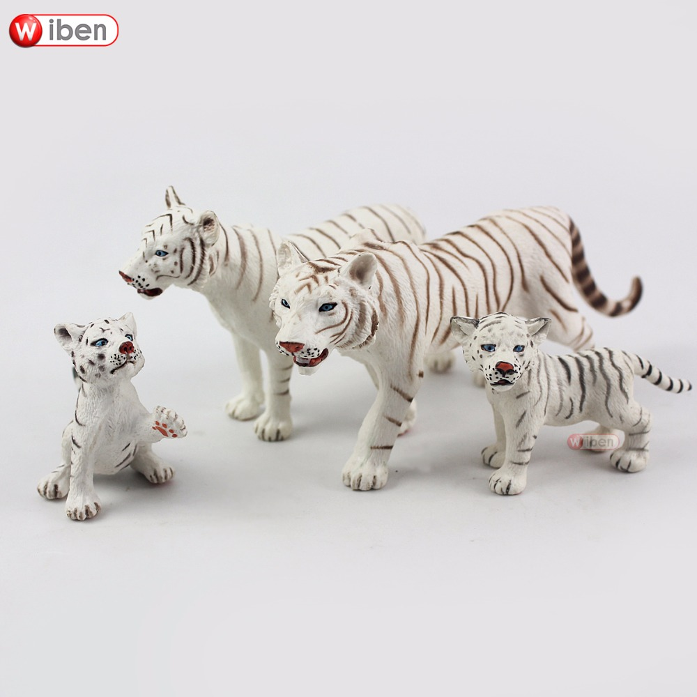 Wiben Tiger-Simulation Figures Collections Animal-Model for Boy Gift 4pcs/Lot Action--Toy