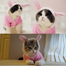 New Cute Pet Cat Clothes Easter Bunny Costume Cat Dog Hoodie Coat Fleece Warm Rabbit Outfit Clothing for Cats 29
