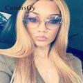 CandisGY Hipster Óculos Claros Cateye Espelho Espelho de Grandes Dimensões Óculos De Sol Da Marca do Desenhador Das Mulheres Da Senhora óculos de Sol Óculos de Armação de Metal