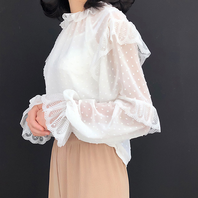 2019 Summer Ruffles lace   blouse     shirt   women Hollow out white black   blouses   Ladies tops Elegant   blouse   blusas camisas mujer
