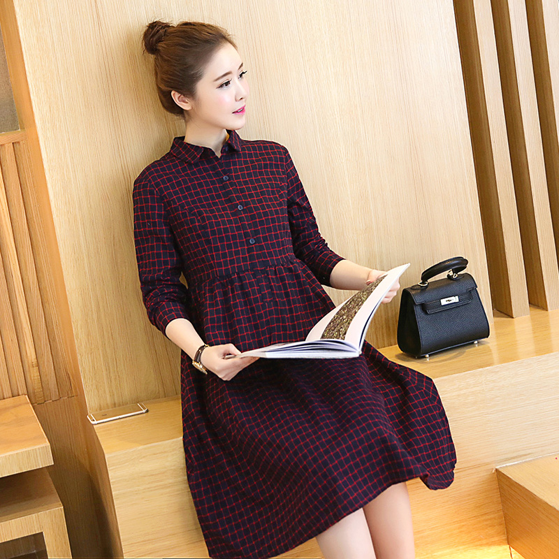 9605# 2018 Autumn Korean Fashion Maternity Long Dress Plaid Cotton A Line Blouse Dress Clothes for Pregnant Women Slim Pregnancy high quality 304 stainless steel casting powerful door stop magnetic door stopper doorstop k179