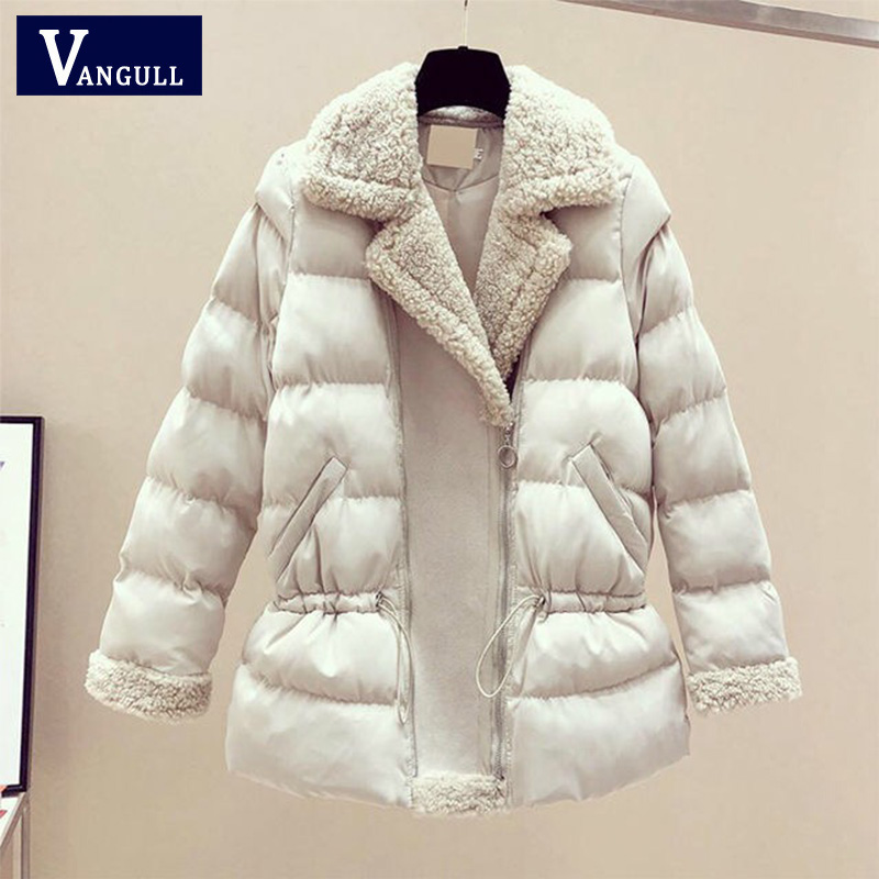 Vangull 2019 Women Winter Coat New   Parkas   Fur Collar Thick Cotton Padded Jacket Coats Womens Outwear   Parka   Slim Wadded Jackets
