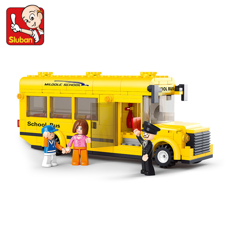 B0507 SLUBAN 218Pcs City School Bus Model Building Blocks Classic Enlighten DIY Figure Toys For Children Compatible Legoe 1700 sluban city police speed ship patrol boat model building blocks enlighten action figure toys for children compatible legoe