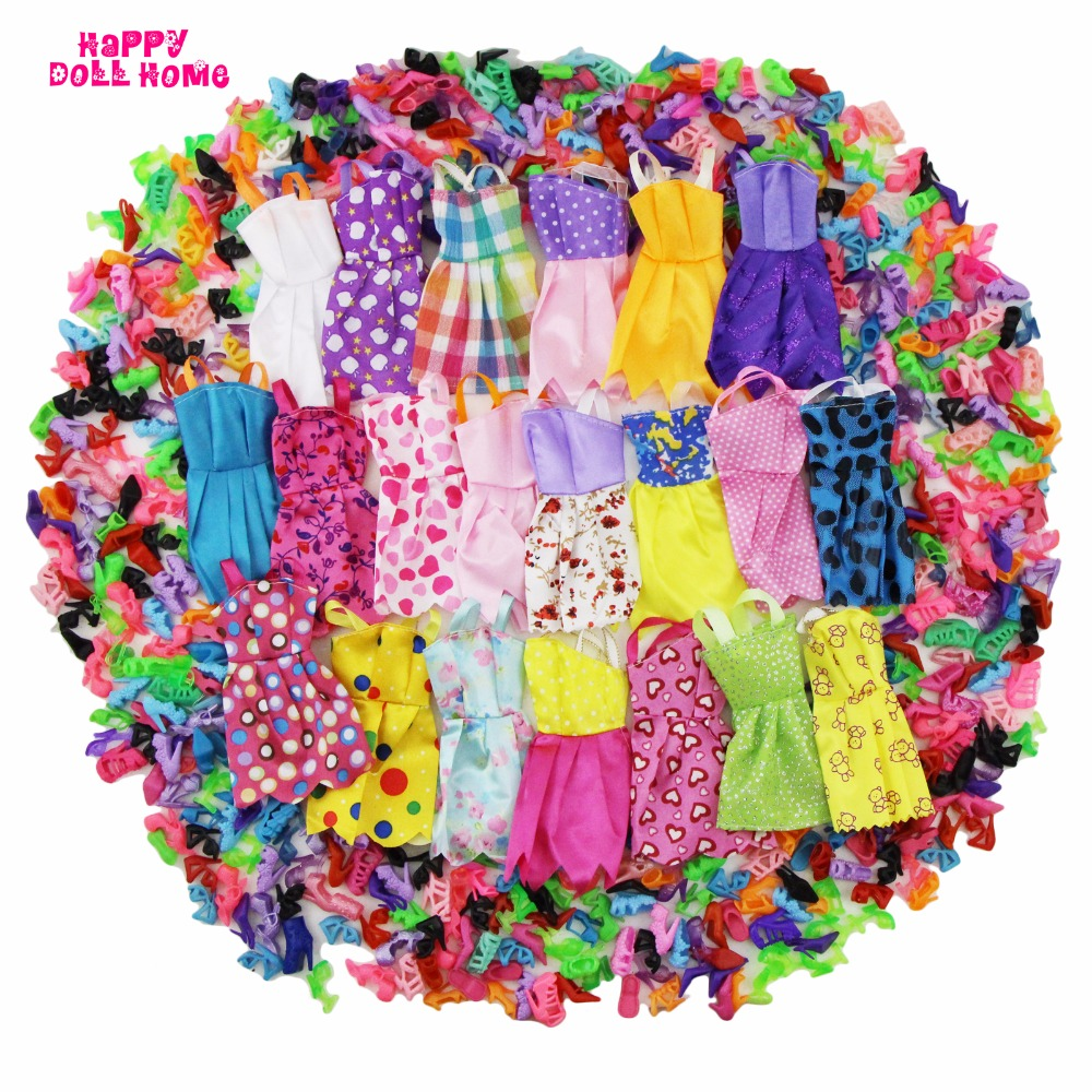 24 Pcs = 12 x Handmade Mini Dress Doll Clothes Short Skirt + 12 x Shoes High Heels Dollhouse Accessories For Barbie Doll Kid Toy new 20 pcs set handmade party 12 clothes fashion mixed style dress 8 pair accessories shoes for barbie doll best gift girl toy