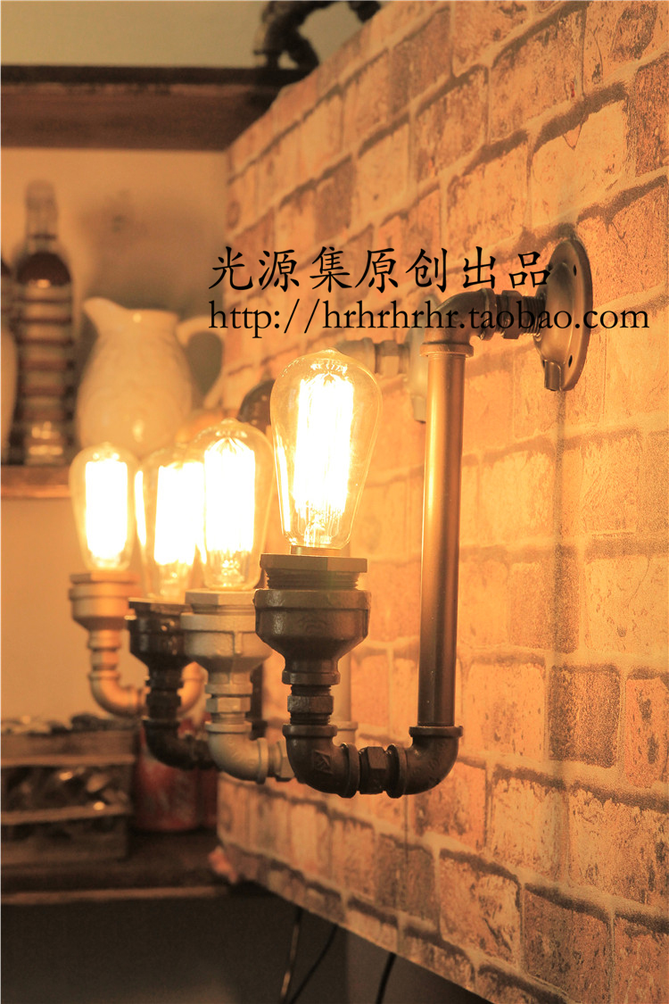 produced pipe LED wall light Water pipes 1Pc light source set  retro coffee bar decoration creative personality wall lamp zzp water pipes light source set produced 75 industrial water wall lamp retro cafe loft american iron wall zzp