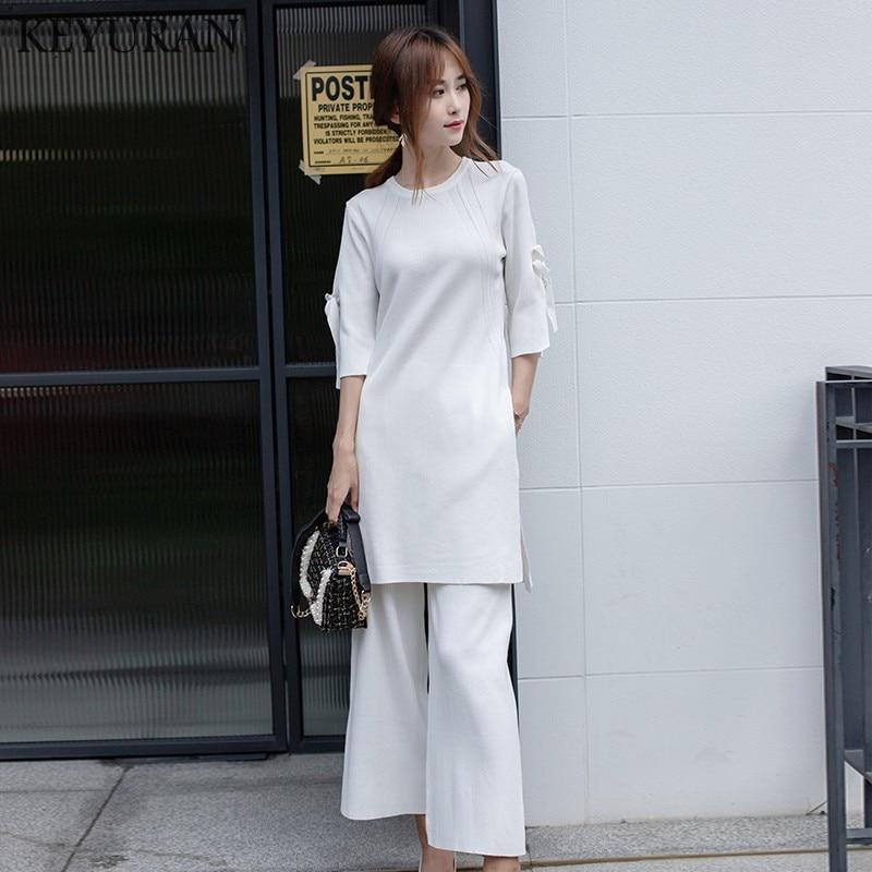 Hot Sale Autumn Ice Silk Split 2 Pcs Set Womens Knit Wide Leg Pants