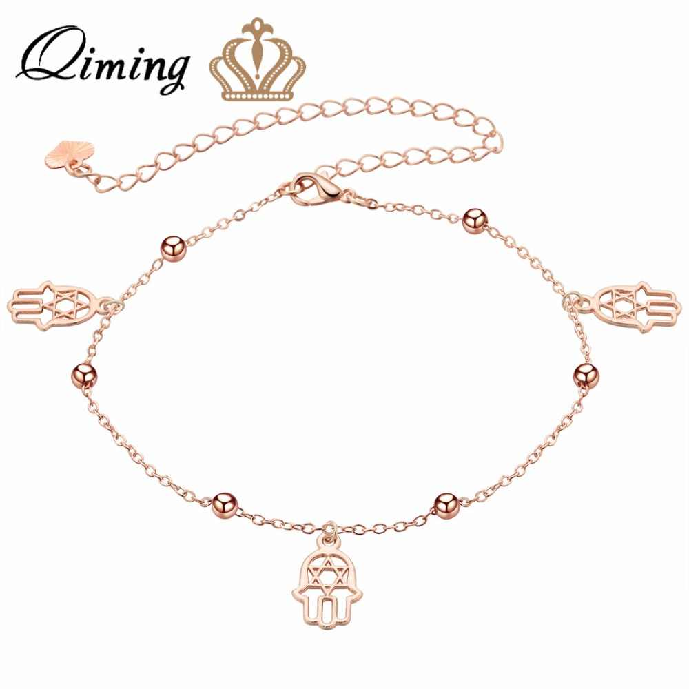 QIMING  Hamsa Anklet Bracelet On The Leg for Women Small Beads Gold Retro Boho Foot Jewelry Silver Chain Anklets Girls Gift