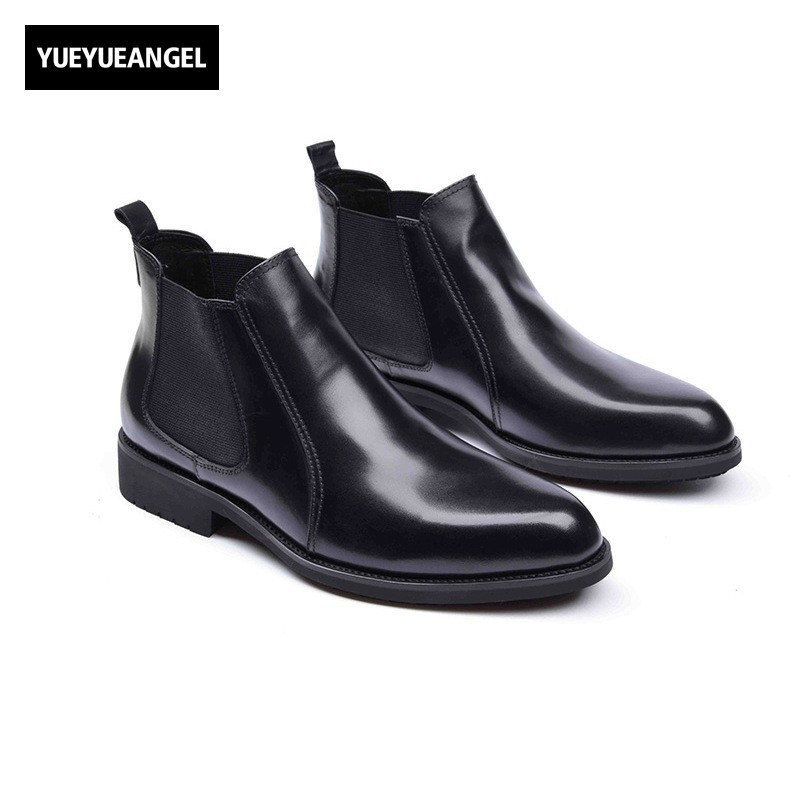 Fashion High Quality Men Casual Shoes Genuine Leather Slip On Male Footwear Soft Leather Chelsea Shoes Motorcycle Biker Shoes male casual shoes soft footwear classic loafers men leather shoes fashion high quality business shoes male aa30142