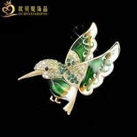 OBN אופנה זהב ריינסטון אמייל Hummingbird סיכת סיכת חרקים משלוח חינם מתנת תכשיטי נשים