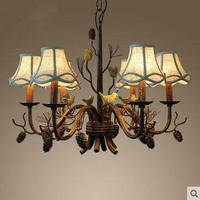 Bar Antique Pine Cone lamp Loft Bird light Restaurant branch Chandelier for Living Room Iron rustic lampada cloth lamp shade
