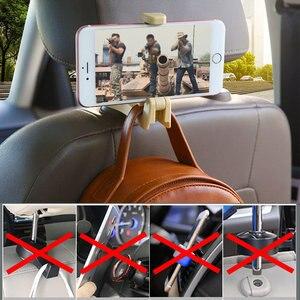 Image 4 - 1PC 2PC רכב משענת ראש וו עם טלפון מחזיק מושב אחורי קולב תיק ארנק מכולת בד נייד 2in1 קליפים תכליתי ווים