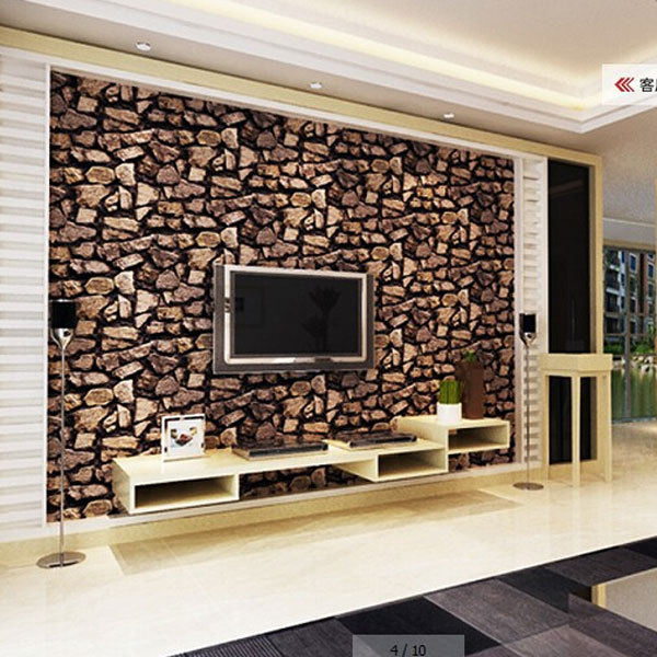 Modern Thick Stone Wallpaper Stereo Wallpapers Home Decoration Project Wall Paper Waterproof Pvc Papel De Parede Qz0038 In From