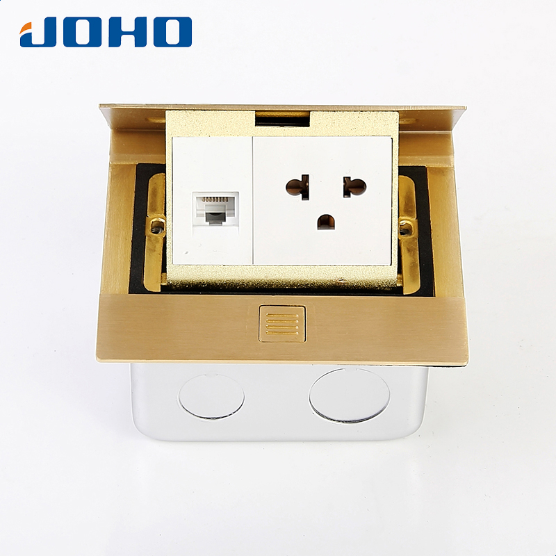 Brass Slow Pop Up Floor Socket Box with 15A 125V US socket RJ45 computer data brass slow pop up floor socket box with 15a 125v us socket rj45 computer data