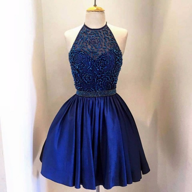 Blue Halter Homecoming Dresses Backless Beads Stain 8th Grade Prom Dresses Short Semi Formal Gowns Cheap