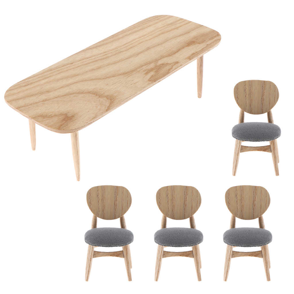 1/12 Scale Dollhouse Miniature Furniture, Wooden Rectangular Coffee Tea Table + 4pcs Chairs Pretend Play Furniture Toys