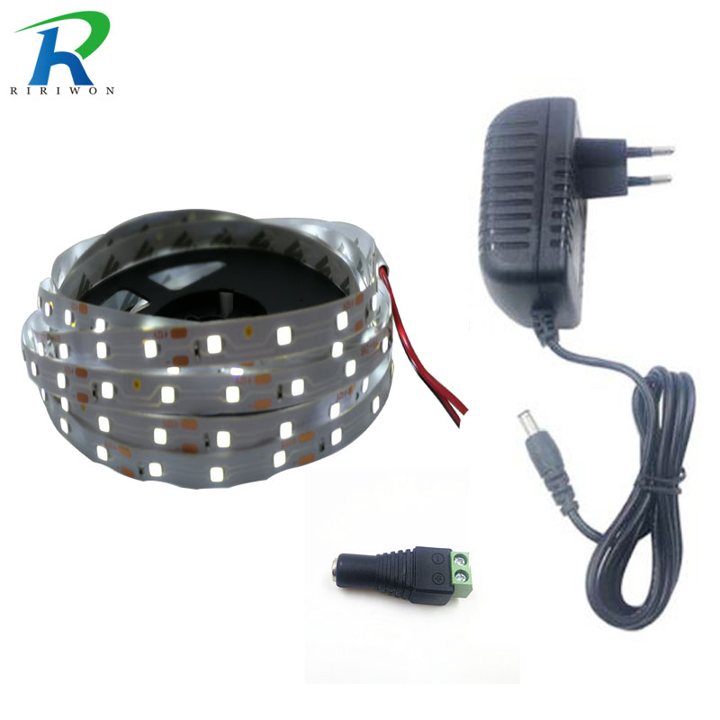 RiRi won 5m SMD RGB Led Strip light single 2835 flexible led light led tape ribbon waterproof strip 5m strip DC 12V power set riri won smd5050 rgb led strip waterproof led light dc 12v tape flexible strip 5m 10m 15m 20m touch rgb controller adapter