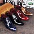 Británicos Zapatos de Cuero Genuino Moda Casual Party Flats Zapatos de Los Hombres de Cuero de Oxfords Vestido Rojo Zapatos de La Boda de 4 Colores