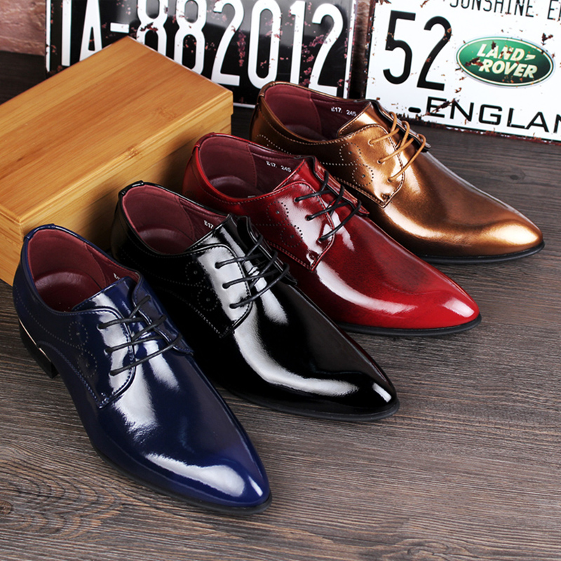 British Genuine Leather Shoes Fashion Men'S Casual Flats Party Shoes Men Leather Oxfords Red Dress Wedding Shoes 4 Colors men s genuine leather fashion casual lace up flats shoes party wedding shoe for men business bv oxfords shoes free shipping
