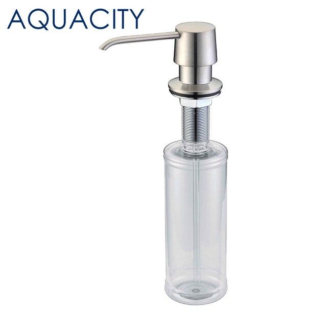 AQUACITY Brass Kitchen Sink Liquid Soap Dispenser Brushed Nickel