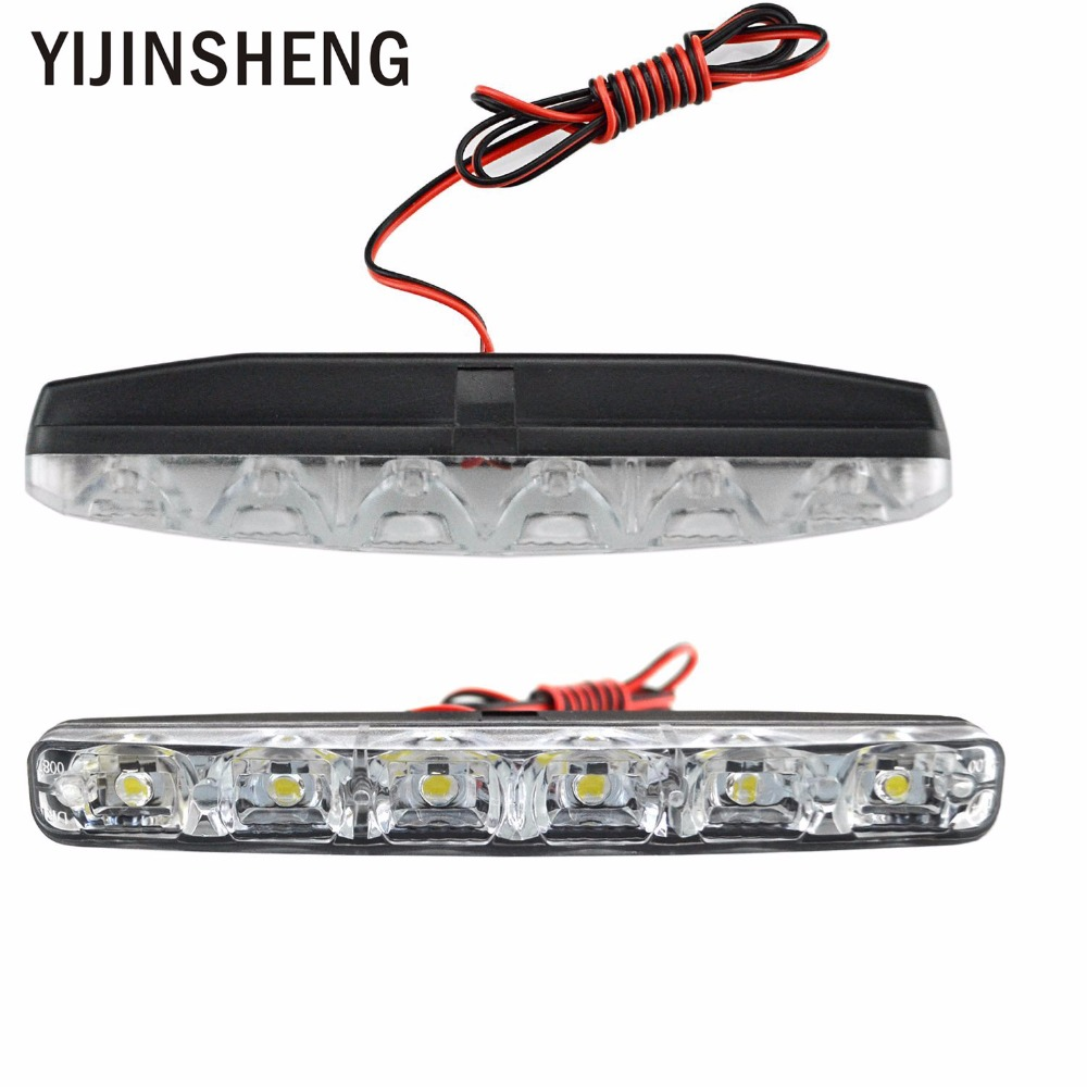 YIJINSHENG Car Accessories Universal Fit 6 LED Car Daytime Running Lights DRL DC 12V LED Steering Lamp Automobile Light Source 20 5cm car drl cob dc 12v 6000k universal light source daytime running lights fog lamps car styling auto accessories led icarmo