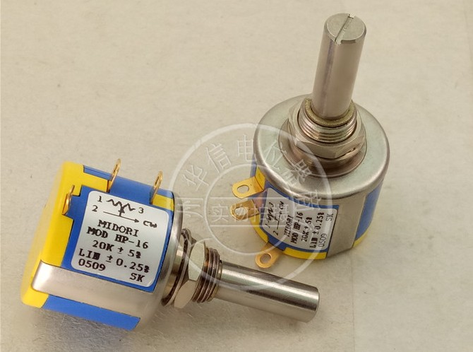 [VK] ORIGINAL MIDORI HP-16 50K 20K wire wound multi-circle potentiometer axis 25*6MM 25*6 switch spanish two tone double potentiometer 10k 50k