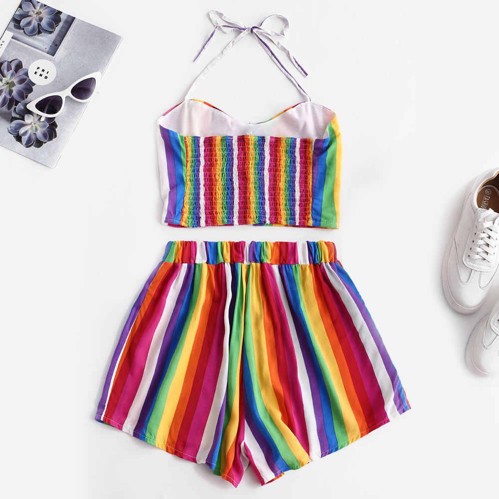 ZAFUL kobiety dwa kawałki zestaw Rainbow paski Smocked luźne spodenki zestaw przyciski wysokiej talii dno i Crop Tops Camis kobiet zestawy