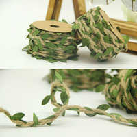 ZERZEEMOOY 5Meters Rustic Jute Hessian Burlap Twine Rustic String Cord Rope Leaves Ribbon Crafts Wedding Party Home Decoration