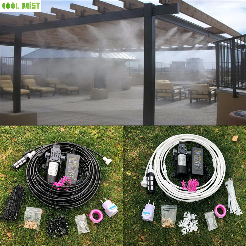 S228 Water pump set 12V misting motor with 12M mist system 16pcs nozzles mister for patio outdoor cooling system-in Sprayers from Home & Garden    1