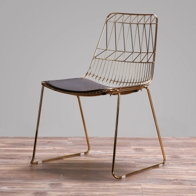 Simple Coffee Restaurant Back Iron Metal Creative Leisure Wire Electroplating Gold Hollow Dining Chairs