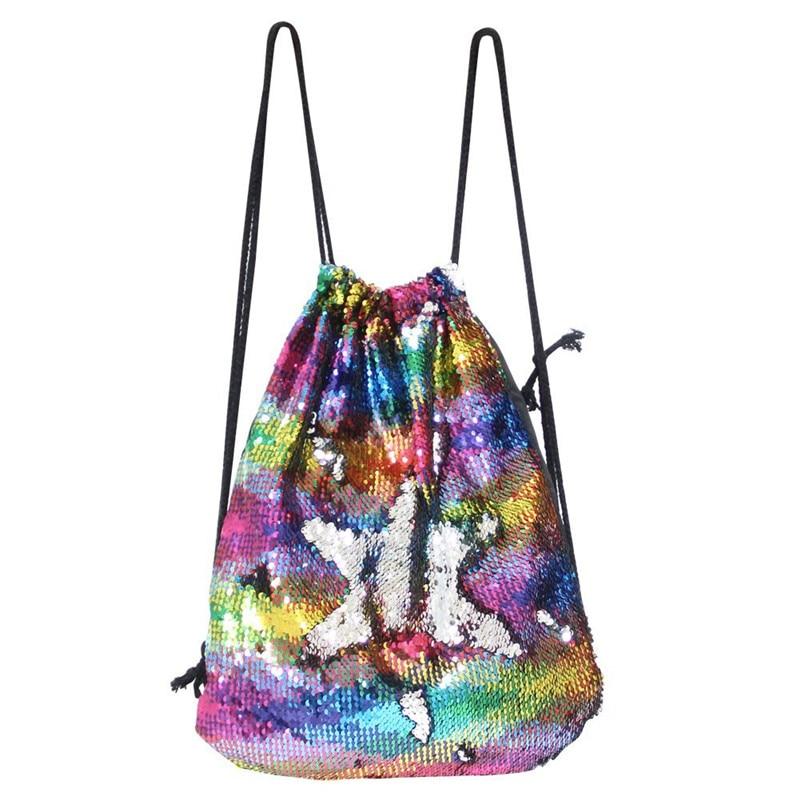 Mermaid Sequin Drawstring Backpack Women Glittering Sequins Shoulder Bag Magic Reversible Glitter Drawstring Backpack Teenagers drawstring pu backpack