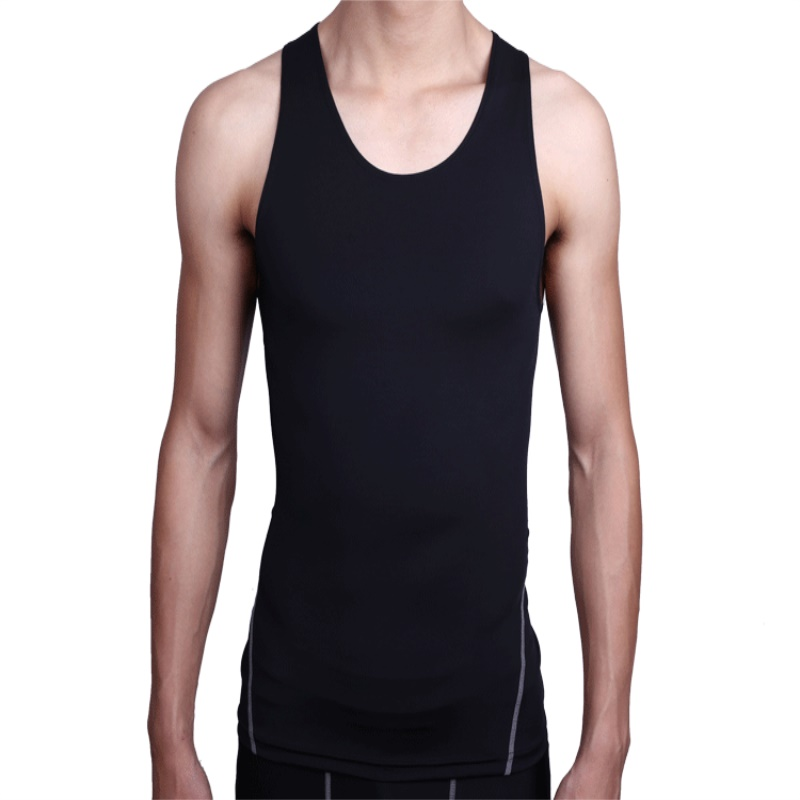 Mens Sleeveless T-shirt Under Compression Armour Base Layer Vest Quick Drying Sportswear ...
