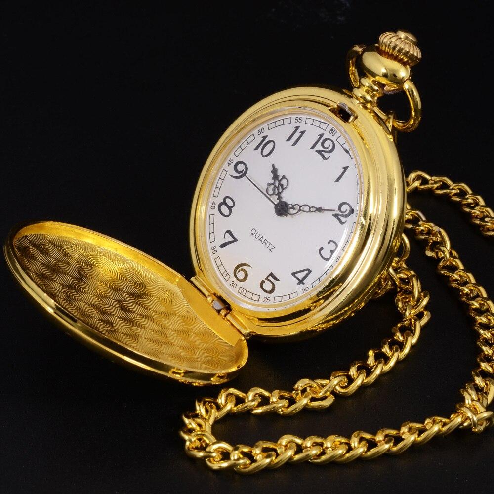 TIEDAN Pocket Watch New Unisex Vintage Classic Elegant Quartz Gold Watch Pocket Fob Watch Necklace Relogio Fashion Casual Watch