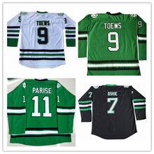e43c6fc5f50 S-3XL Men's #11 Zach Parise #9 Jonathan Toews #7 T.J. TJ Oshie North Dakota  Fighting Sioux White Black Green Ice Hockey Jersey