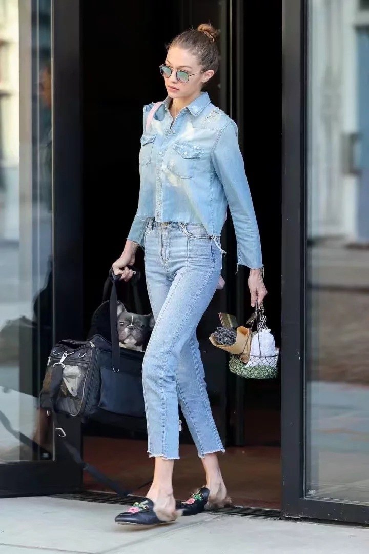 Patch Blogger Detalles Cintura Alta Vaqueros Deshilachados Blue Desgaste Pantalones Moda De Mujeres OwExYpqdp