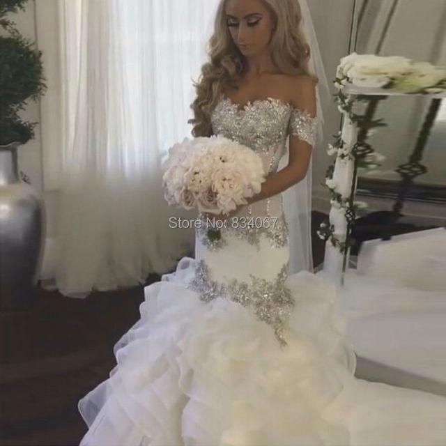 glamour y brillo de plata apliques de encaje vestido de novia sirena