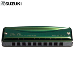 Suzuki Olive C-20 Diatonic Harmonica 10 Holes Blues Harp Key Of C Olive Green Professional Quality Japan Musical Instruments C20