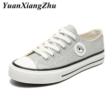 2019 fashion sequin canvas shoes woman Lace-up casual girl sneakers women summer breathable basket femme trainers