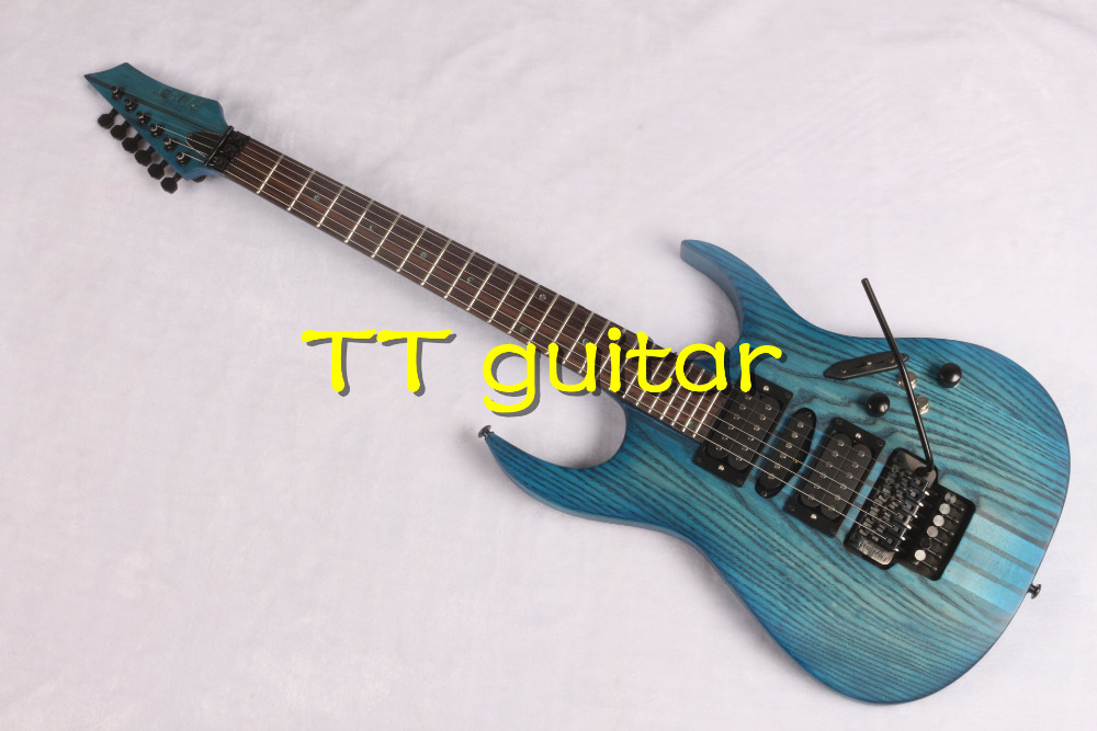 2016 6 Strings Ocean Blue Color Ash Body One-piece Set Neck Black Hardware Locking China Electric Guitar Professional Design