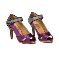 Girl S High Heel Sexy Salsa Latin Dance Shoes Purple 7 3cm Heels Professional Girl S
