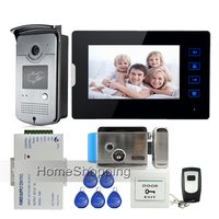 7 Touch Screen Video Door Phone Intercom 1 Monitor Waterproof RFID Access Camera Electric Lock Remote