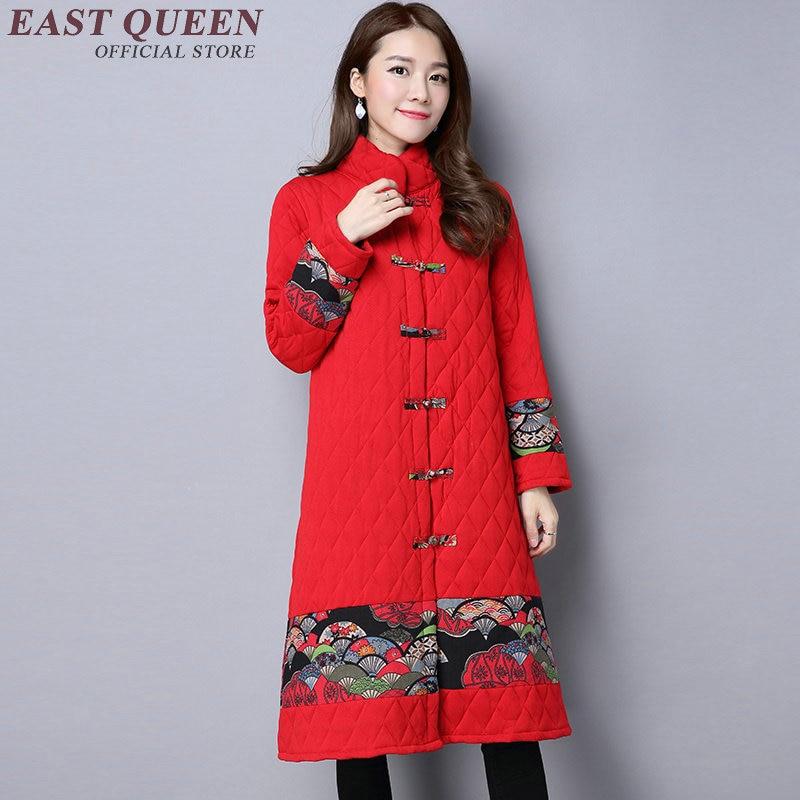 Traditional Chinese Clothing Winter Coat Women 2018 Fashion Long Trench Coat Cotton Padded Windbreaker XXL AA3007 YQ