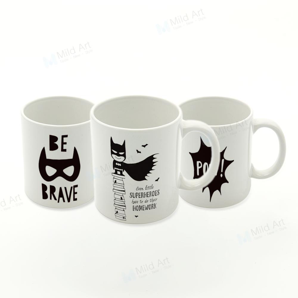 Us 11 98 47 Off Nordic Black White Superhero Batman Quotes Game Kids Ceramic Water Cup Boy Creative Gift Custom Kitchen Coffee Tea Beer Mugs Set In