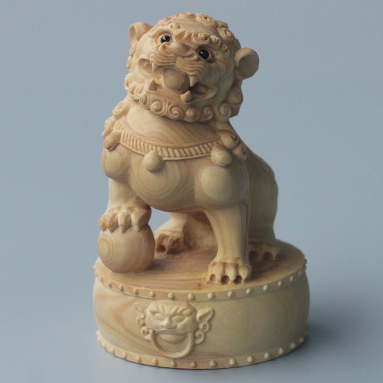 Boxwood Carving Town House Lion Animal Carving Handicrafts Study