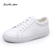 EARTH STAR Casual White Shoes Women Brand Platform Sneakers Lady Real Leather chaussure Cross-tied Female footware Breathable jookrrix casual elasticity sock shoes women brand white sneakers high top lady fashion mesh chaussure female leisure footware