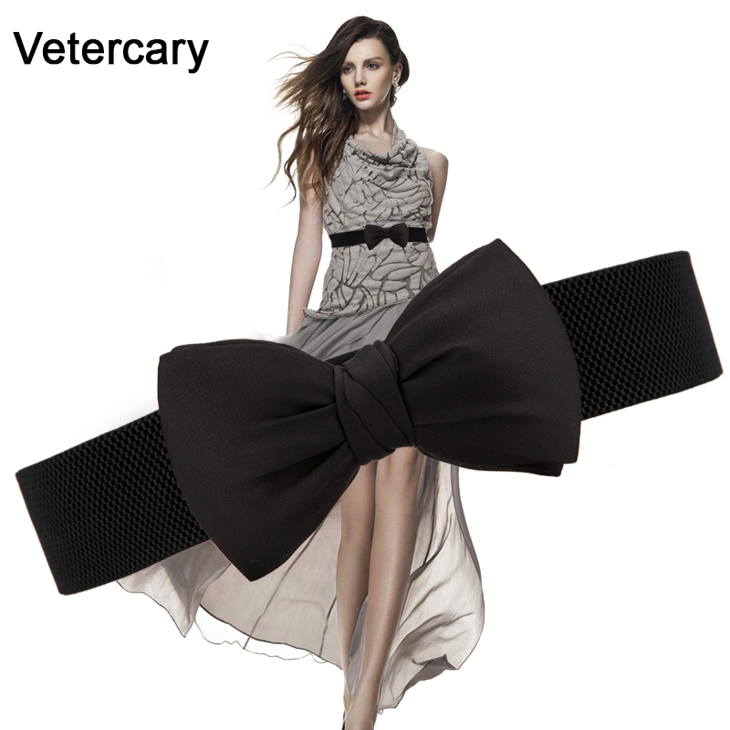 New Big Red Bow Waistband Hot-selling Wedding Belts Female Cloth Wide Elastic Cummerbunds Bowknot Fashion Dress Decoration Women