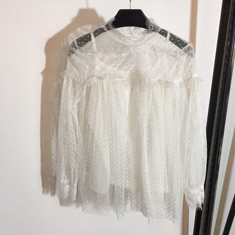 Nouveau Dames T Col 2019 Shirt Solide High Manches Longues Sheer Street shirt 1 À Slim no Appliques No T Hauts Femmes Roulé Sexy Noir 2 A4RL3j5q