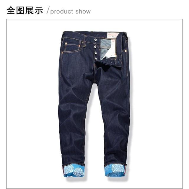 Evisu 2018 Uomini dei jeans a vita bassa Pantaloni di Modo Casuale Degli Uomini Pulsante Tasche Dei Jeans Dritto Lungo Classico Blu Pantaloni Per Gli Uomini 6187
