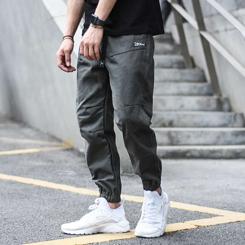 Japanese Style Vintage Fashion Men Jeans Jogger Pants Elastic Waist Buckle Loose Fit Cargo Pants Khaki Black Color Hip Hop Jeans